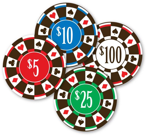 Poker Chips - Red, Green, Blue & White